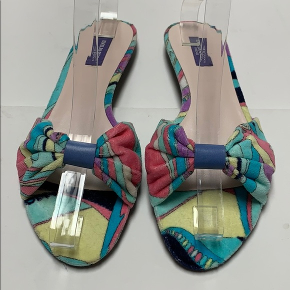 de2007930fc Emilio Pucci Terry Cloth Abstract Sandal NWOB! 7
